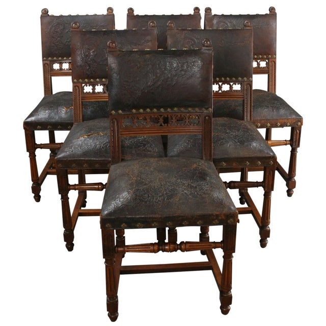 Renaissance Dining Room Furniture: Antique Dining Chairs French Renaissance - S/6