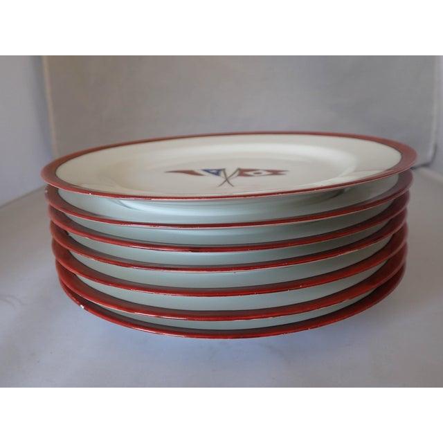 Image of Circa 1902 Hartford Yacht Club Flags Bread Plates - Set of 8