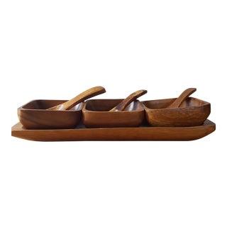 Vintage Wood Three Bowl Serving Tray & Spoons
