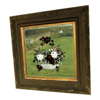 Victorian Reverse Painted & Etched Mirror in Velour Frame
