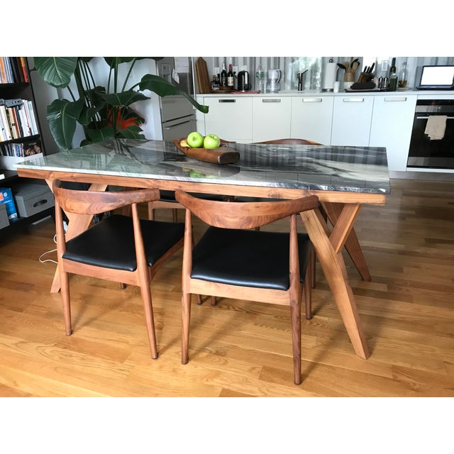 Image of Mid-Century American Marble Top Walnut Table