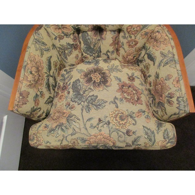 Tufted High Back Armchair With Beautiful Wood Detail - Image 11 of 11