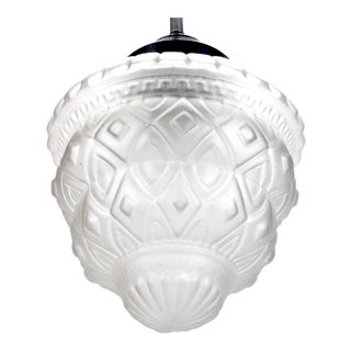 Charles Schneider French Art Deco Satin Glass Pendant Light