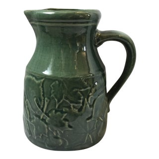 Rowe Pottery Dark Green Embossed Leaf Pitcher