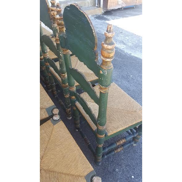 Image of Green Painted Ladder Back Dining Chairs- Set of 8