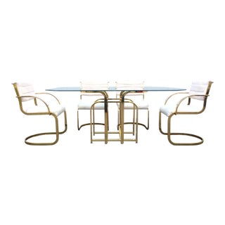 Mid Century Modern Brass & Glass Dining Set