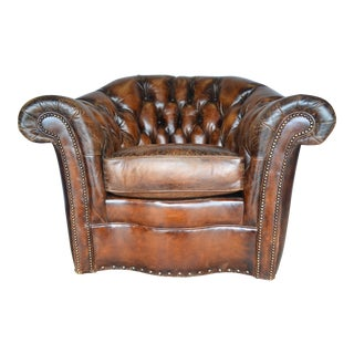 Century Furniture Leather Chester Swivel Club Chair