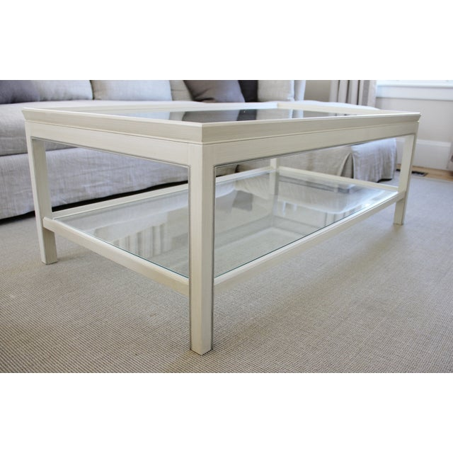 Country Swedish Painted Wood & Glass Coffee Table - Image 3 of 8