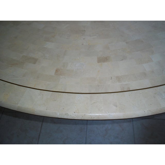 Image of Karl Springer Inlaid Brass Fossil Coral Table