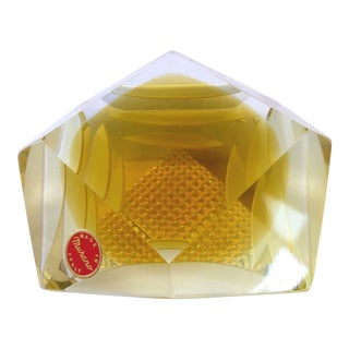 Murano Glass Brilliant Cut Diamond Shape Paperweight