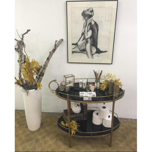 Mid-Century Modern Black Glass & Brass Bar Cart - Image 7 of 7