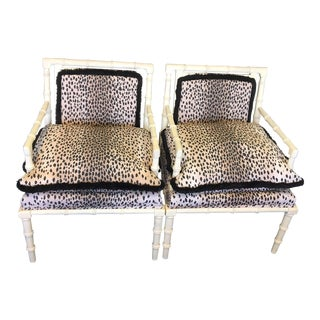 Vintage Faux Bamboo Leopard Chairs - a Pair