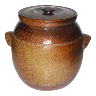 Monumental Salt Glazed Stone Ware Double Handled Bean Pot