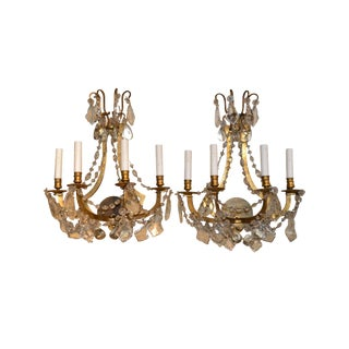 Pair of French Bronze and Crystal Sconce