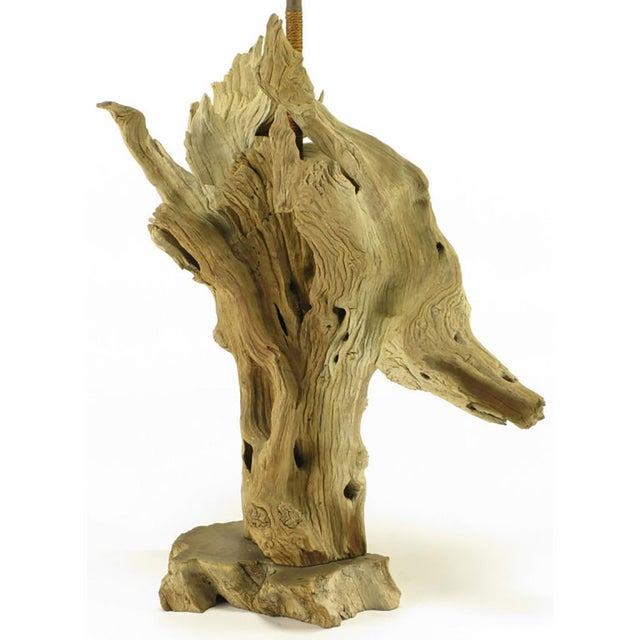 Image of Driftwood Table Lamp with Live Edge Wood Base