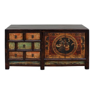 Chinese Distressed Orange Light Green Flower Sideboard Table Cabinet