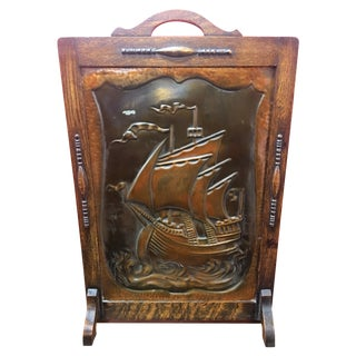 Antique Embossed Copper Nautical Fireplace Screen