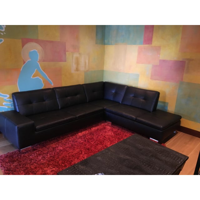 Image of Scandinavian Design 2 Piece Black Leather Sectional Sofa