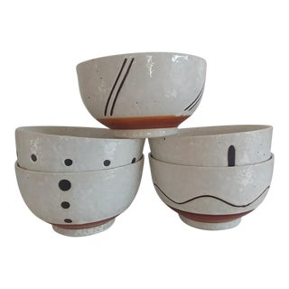 Japanese Pottery Bowls - Set of 5