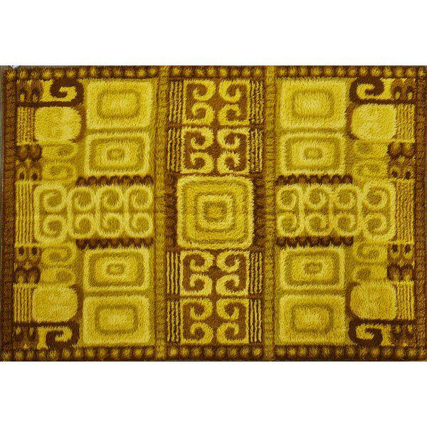 Large & Thick Swedish Rya Wool Rug With Abstract Cubist Detail by Ege - 6' X 9', Circa 1960s - Image 2 of 2
