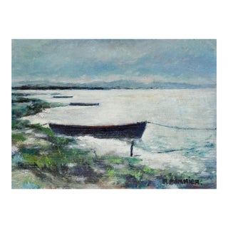 French Twilight Shore With Boats Oil Painting