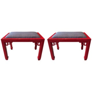 James Mont Style Red Lacquer Ottomans - A Pair