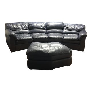 Navy Blue Leather Sectional & Ottoman
