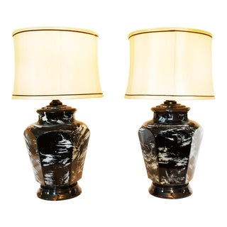 Vintage Black & White Glass Lamps - A Pair