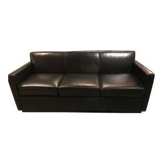 Hickory Leather Black Leather Tuxedo Sofa