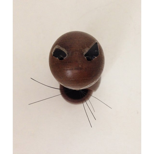 Image of Vintage MCM Wood Cat Toothpick Holder Figurine