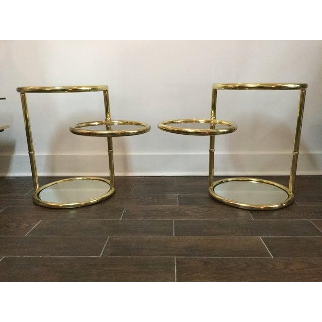 1970's Swivel Brass Side Tables - Image 3 of 11