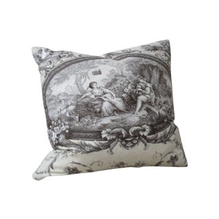Grey & Black Cotton Toile Accent Pillow