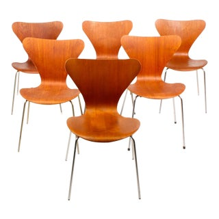 Arne Jacobsen Teak 3107 Butterfly Chairs - Set of 6
