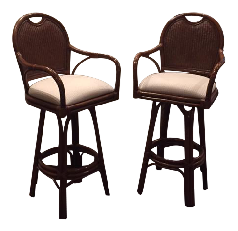 30 Quot Swivel Barstools With Attached Cushions A Pair