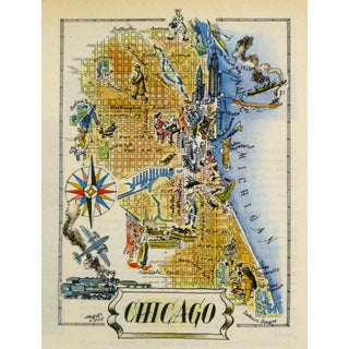 Vintage Chicago Pictorial Map 1946