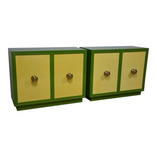 Harvey Probber Custom Green & Yellow Chests- a Pair