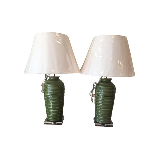 Port 68 Palm Green Glazed Lamps - Pair - Image 1 of 5