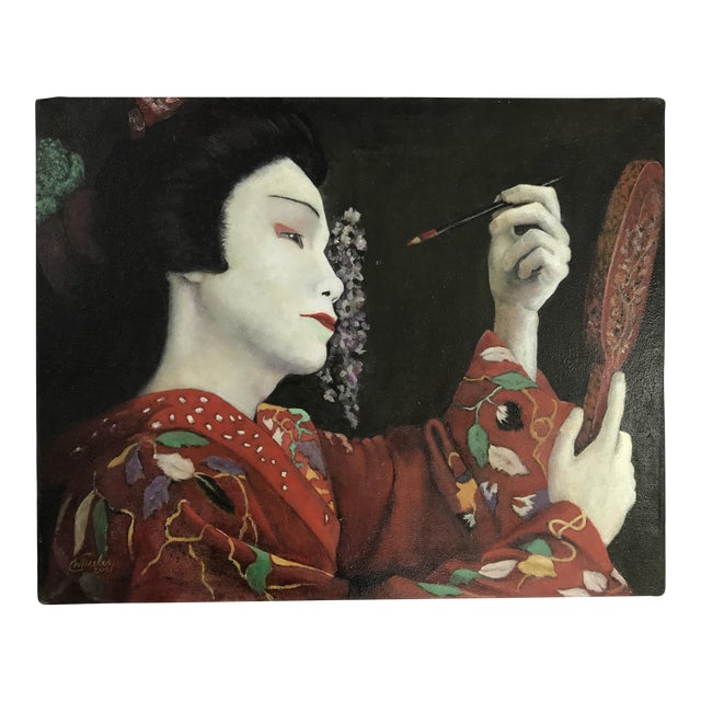 Geisha Applying Make-up Original Oil Painting - Image 1 of 8