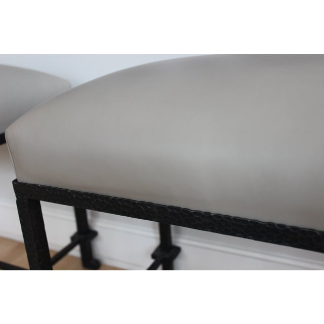 Image of Leather & Hammered Steel Benches - A Pair
