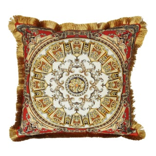 Scarf Print Medallion Pillow