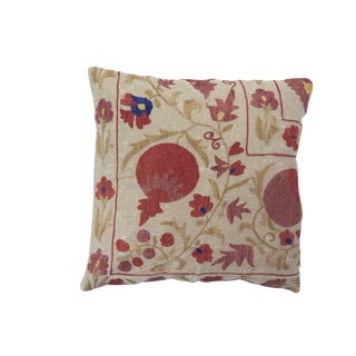 Suzani Embroidered Pillow with Flowers and Fruit