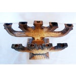 Image of Hand Carved Primitive Wood Candleholders - A Pair