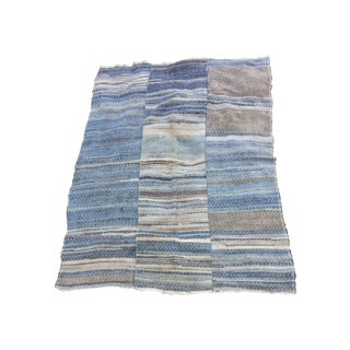 "Variagated Indigo Dyed Rag Rug - 4' x 5' 1"""