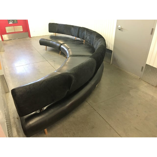 Image of 3-Pc Black Faux Cowhide Sectional Sofa