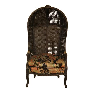 French Louis XIV Style Double Cane Hooded Porters Chair