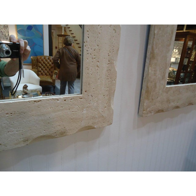 Modern Travertine Mirrors - A Pair - Image 4 of 5