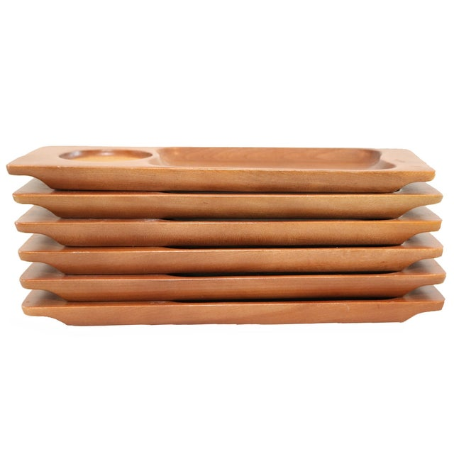 Mid-Century Teak Appetizer Trays - S/6 - Image 2 of 4