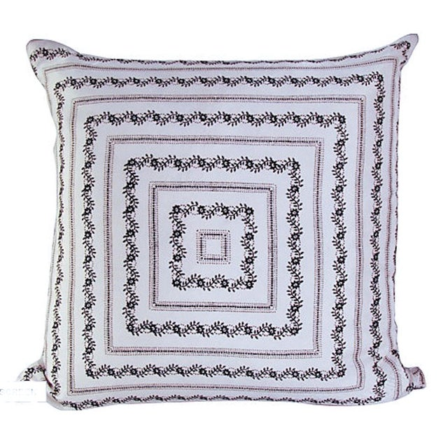Vintage Silk White Bandana Pillow - Image 1 of 3