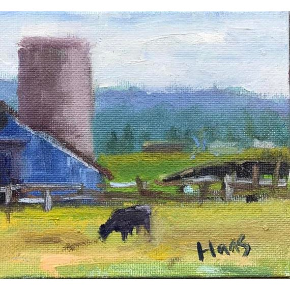 """Petaluma Blue Barn & Cow"" Painting - Image 10 of 11"