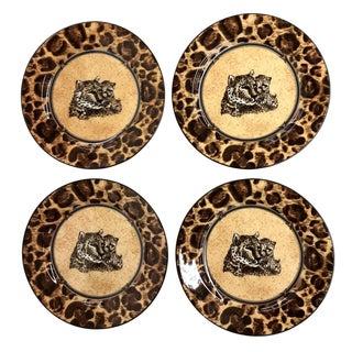 Fine Porcelain Leopard Dessert Plates - Set of 4
